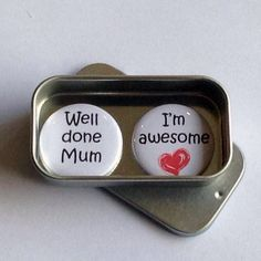 Mothers Day / Magnet Gift Set / Well Done Mum, I'm Awesome / Mum Gift / Mom Gift / Card Alternative / Handmade / Keepsake Diy Mothers Day Gifts, Gifts For Mum, Cute Gifts, Unique Gifts, Best Gifts, Handmade Gifts, Birthday Gift Cards, Tin Gifts, Mother's Day Diy