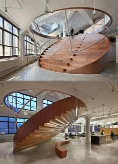 Wide stairs, a circle in cross section. The design makes it look like you can fold up the stairs. Pure architecture Start Paying Attention To The Design of The Office - The Cool Hunter Nicole Sara Houses Wide stairs, a circle in cross sec Architecture Design, Stairs Architecture, Amazing Architecture, Amphitheatre Architecture, Design Exterior, Home Interior Design, Interior Decorating, Modern Interior, Decorating Stairs
