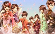 Pixiv Id 3763979 Mangaka Axis Powers: Hetalia Series China Character Hong Kong Character Japan Character Macau Character South Korea Character Taiwan Character Thailand Character Vietnam Character Aodai Arms Up Changshan Chinese Clothes Crossed Arms Duangua Epaulettes Hanbok Hand On Head Korean Clothes Looking Away Looking To Side Military Uniform Petal Side View Vietnamese Clothes Wind Allied Forces Character Group Asian Countries Character Group Axis Power Countries Character Group