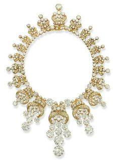 Diamond Necklace; yellow gold and platinum with diamonds.