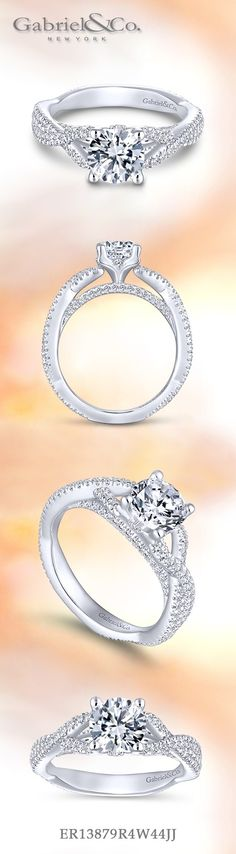 Gabriel - 14k White Gold Round Twisted Engagement Ring with beautiful encrusted diamonds along the band.