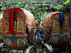 glittery rickshaw couple
