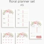 Pink floral planner calendar inserts | A5 and Personal
