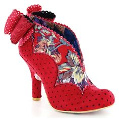 Irregular Choice Toasted Teacake 3781-47A Womens High Heel Court Shoes - Red