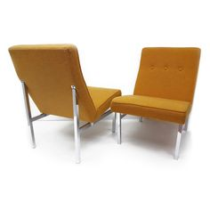 Great Pair of Lounge Chairs, Waiting Chairs made by All Steel Inc. Office Furniture. You Can place these chairs together to create a sofa look, or individually. Both Look Great!  Comfortable, Tufted , Slightly angled, Mustard Yellow/ Rusty colored, arm less chairs. Chrome base, Chrome is in excellent condition with minimal vintage wear, One chair has a darker Mark on upper part of chrome. Original Fabric is in Great condition, very minimal vintage wear, Spot Free, No holes or tears. See…