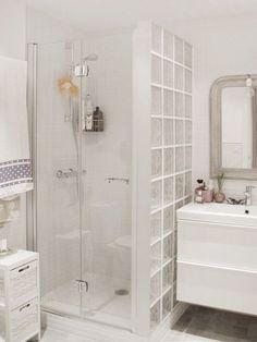 Bathroom decor for your bathroom remodel. Discover bathroom organization, bathroom decor ideas, bathroom tile ideas, bathroom paint colors, and more. Bathroom Design Small, Bathroom Layout, Bathroom Interior, Modern Bathroom, Nautical Small Bathrooms, Shower Remodel, Bath Remodel, Glass Block Shower, Glass Bathroom