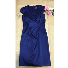Beautiful Midi Royal Blue Dress Wore only once!Perfect Condition!Size 6.Very rich material! Jax Dresses Midi
