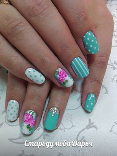 Beautiful nails 2016, Beautiful summer nails, Bright summer nails, Fashion nails 2016, Manicure by summer dress, Mint and white nails, Nail art stripes, Nails under mint dress