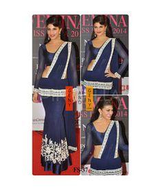 Genyandgeny.com: JACQUELINE FERNANDEZ BEAUTIFUL BLUE DESIGNER SAREE...