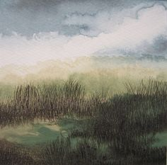 Grassland 2  original painting / etching in by JacquelineLawArt, £25.00