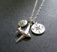 Going away gift for friend, farewell gift, compass necklace, airplane charm necklace, personalized jewelry, compass initial necklace