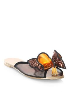 cefd9b74a Fulfilled by  Saks Fifth Avenue - Vivid butterfly applique accentuates  these sandals - Mesh textile calf leather suede leather upper - Open toe -  Slide-on ...