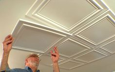 Embossed polystryrene foam ceiling tiles are easy to install while adding interest and elegance to a room. Embossed polystryrene foam ceiling tiles are easy to install while adding interest and elegance to a room. Basement Remodeling, Basement Ideas, Kitchen Remodeling, Basement Makeover, Bedroom Remodeling, Remodeling Ideas, Ceiling Design, Home Renovation, Home Projects