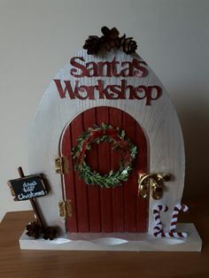 Elf door - Santa's workshop with count down to Christmas Liquid chalk pen included. Christmas Gingerbread House, Christmas Fairy, Christmas Makes, Christmas Signs, Diy Fairy Door, Fairy Doors, New Year's Crafts, Christmas Crafts, Christmas Ornaments