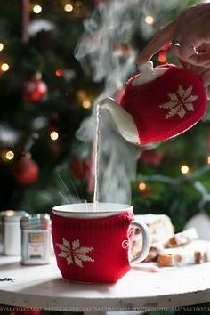 Ana Rosa - cutest tea cozy and cup cozy ever! Noel Christmas, Christmas And New Year, Winter Christmas, All Things Christmas, Christmas Morning, Christmas Coffee, Good Morning Winter, Christmas Kitchen, Elegant Christmas