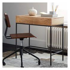 West Elm Industrial Storage Mini Desk, Mango ($279) ❤ liked on Polyvore featuring home, furniture, desks, natural, industrial home furniture, industrial furniture, mini storages, industrial desk and west elm