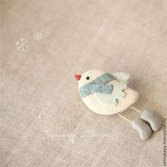 Купить Снежная птичка. Брошь - белый, снежный, Снег, зима, птичка, брошь птичка, пташка