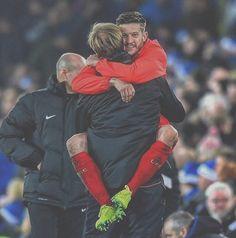 Adam Lallana and Klopp - Liverpool FC - Bear Hugs