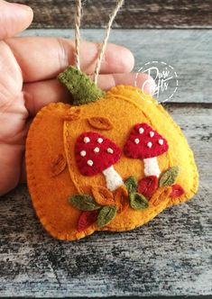 PRE ORDER / Pumpkin ornament with Mushrooms and colorful leaves, Fall decorations, Autumn decor, Wool Felt ornament - 1 ornament Felt Crafts Patterns, Fabric Crafts, Sewing Crafts, Felt Embroidery, Felt Applique, Adornos Halloween, Halloween Crafts, Felt Decorations, Autumn Crafts