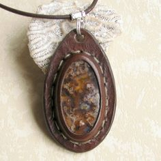 Plume Agate Boho Stone and Leather Pendant Necklace by aosLeather, $55.00