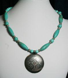 Blue Necklace, Turquoise Southwestern Necklace, Stone Necklace, Antiqued Pendant, Women's Jewelry,