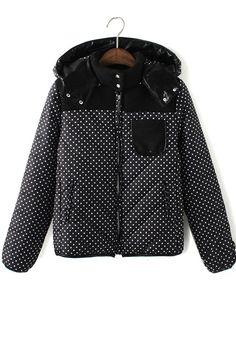 Black Polka Dot Padded Coat