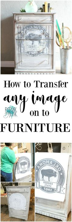 Transferring Images on Furniture Video Tutorial Painting Furniture by Refunk My Junk Painted Furniture Ideas How to Paint Furniture Add Graphics to Furniture Refurbished Furniture, Paint Furniture, Repurposed Furniture, Furniture Projects, Furniture Makeover, Furniture Decor, Diy Projects, Decoupage Furniture, Furniture Design