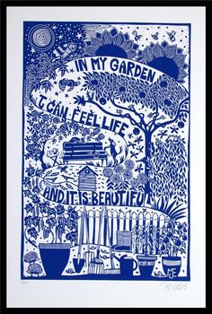 Buy In my Garden, XL blue and white linocut, Linocut by Mariann Johansen-Ellis on Artfinder. Discover thousands of other original paintings, prints, sculptures and photography from independent artists. White Art, Blue And White, Linocut Prints, Art Prints, Blue Prints, Prints For Sale, Art Inspo, Printmaking, Illustration Art