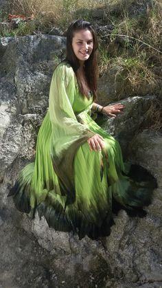 Deep forest green dress Fairy Elfish BoHo Pixie Hippie by dklea Hippie Dresses, Boho Dress, Forest Green Dresses, Deep Forest, Woodland Wedding, Hippie Boho, Pixie, Fairy, Costume