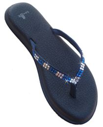 Sigh, so expensive, but...they're made with Sanuk sandals. Crystal Flip Flops - Swarovski Crystal Flip Flops  Authentic Swarovski Crystals teamed with the Most Popular Flip-Flop Lines,  Havaianas, Cariris and Sanuk, all well known for their quality, comfort and design.