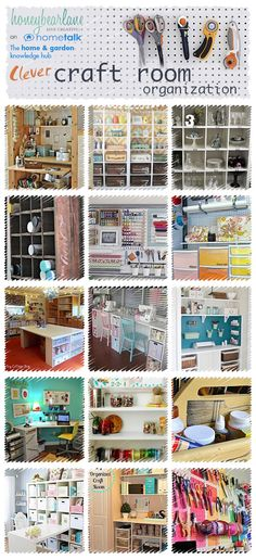 25 Ideas for Craft Room Organization is part of Craft Organization Cheap - 25 Ideas for Craft Room Organization I created a board on Hometalk that is full of inspirational and clever ways to organize your crafting space Scrapbook Organization, Sewing Room Organization, Craft Room Storage, Craft Rooms, Organization Ideas, Craftroom Storage Ideas, Craft Room Organizing, Organising, Space Crafts