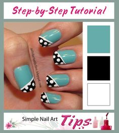 Teal, Turquoise nails with black & white polka dot angled French Manicure style tips free hand nail art Fancy Nails, Love Nails, Trendy Nails, How To Do Nails, My Nails, Style Nails, Turquoise Nail Art, Green Nail Art, Green Nails