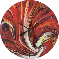 A striking surrealist infusion of shades and shapes, the aptly-entitled Chaos wall clock makes for an eye-catchingly eclectic addition to any decor. Kare Design, How To Make Wall Clock, Glass Artwork, Modern Retro, Fire, Colours, Decor, Spiral, Sweet