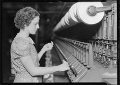 Original Caption: Millville, New Jersey - Textiles. Millville Manufacturing Co. [Woman pulling thread.], 1936    U.S. National Archives' Local Identifier: 69-RP-448    Photographer: Hine, Lewis    Subjects:  The New Deal  Tennessee Valley Authority  Works Progress Administration  Work Portraits  The Great Depression    Persistent URL: research.archives.gov/description/518677