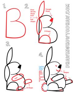 Drawing Animals Tips Drawing a Bunny Rabbit from a Capital Letter B Shape more there! - This is a basic guide to drawing very easy-to-draw cartoon bunny rabbits with simple geometric shapes. These are great drawing lessons for beginner-level Word Drawings, Easy Cartoon Drawings, Doodle Drawings, Animal Drawings, Easy Drawings, Doodle Art, Drawing Cartoons, Drawing Lessons, Drawing Techniques
