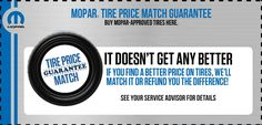 Price Match Guarantee on Tires! Contact us for details! www.klementcjd.com