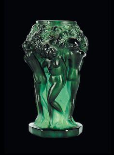 Art Deco moulded crystal vase, by Heinrich Hoffman, Art Of Glass, Art Deco Glass, Art Deco Design, E Design, Art Nouveau, Vase Cristal, Vaseline Glass, Crystal Vase, Murano