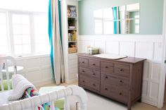 Bright nursery with wainscoting