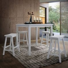 Acme Furniture Gaucho 5-Piece Pack Counter Height Set, White