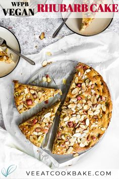 Vegan Rhubarb Cake - this whole food plant-based rhubarb sponge cake is quick made and with no sugar and no oil. This rhubarb dessert is a great dairy-free alternative and made without eggs. #vegancake #sugarfreecake #rhubarbcake #wfpbdessert #wfpbcake #rhubarb Healthy Vegan Desserts, Vegan Dessert Recipes, Delicious Vegan Recipes, Baking Recipes, Cake Recipes, Vegan Foods, Vegan Sweets, Healthy Snacks, Healthy Recipes