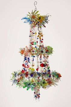 Regency Inspired Chandelier - Magpie Art Collective :: Finding the beauty in discarded rubbish, Barrydale, Western Cape. Chandelier Bougie, Paper Chandelier, Flower Chandelier, Plastic Chandelier, Arte Fashion, Deco Luminaire, Deco Boheme, So Creative, Pom Poms