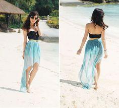 aqua ombre highlow skirt