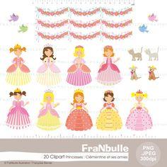 Cliparts – Illustrations numériques – Princesses Clémentine et ses amies - 20 images .jpeg - .png Haute Définition de la boutique FraNbulle sur Etsy