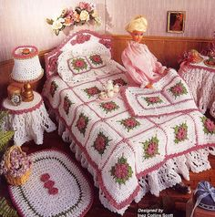 Fashion Doll Home Decor, Crochet, Victorian Bedroom, Annies Attic, New www.etsy.com