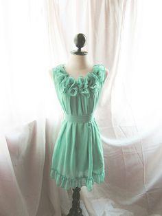 Romantic Minty Green Rose Angelic Rosette Dress by RiverOfRomansk