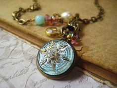 charm necklace glass Czech button starburst peruvian by Candies64, $48.00