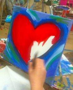 Abstract Acrylic Painting Ideas | Painting Abstract Hearts for Valentine Day