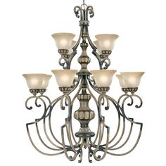 Westchester Honey Rubbed Walnut Twelve Light Chandelier With Glass Shades Classic Lighting