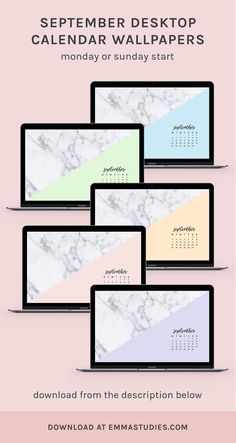 September calendar marble desktop wallpapers by emmastudies