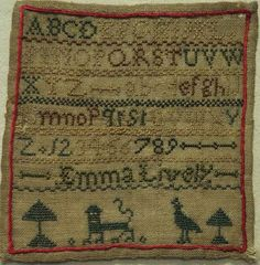 MINIATURE EARLY 19TH CENTURY ALPHABET & MOTIF SAMPLER BY EMMA LIVELY c.1825